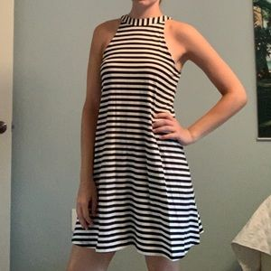 Express Dresses - Black&White Striped High Neck Flowy Dress Small